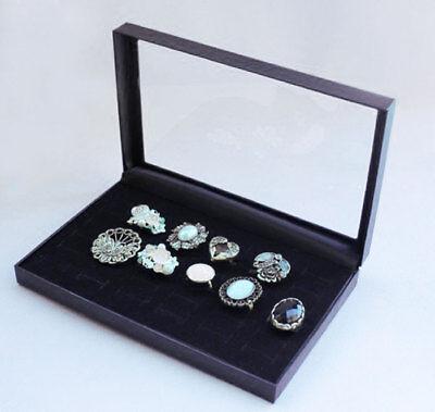 Sale Ring Display Jewelry Tray Black Velvet Pad Box 36 Slot Insert Holder Case