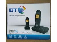 BT Twin Digital Cordless Telephones with answer machine Caller I'D display BNIB