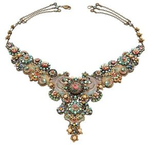 Michal Negrin Luxurious Necklace w Cameo Metal Decorations & Multicolor Crystals