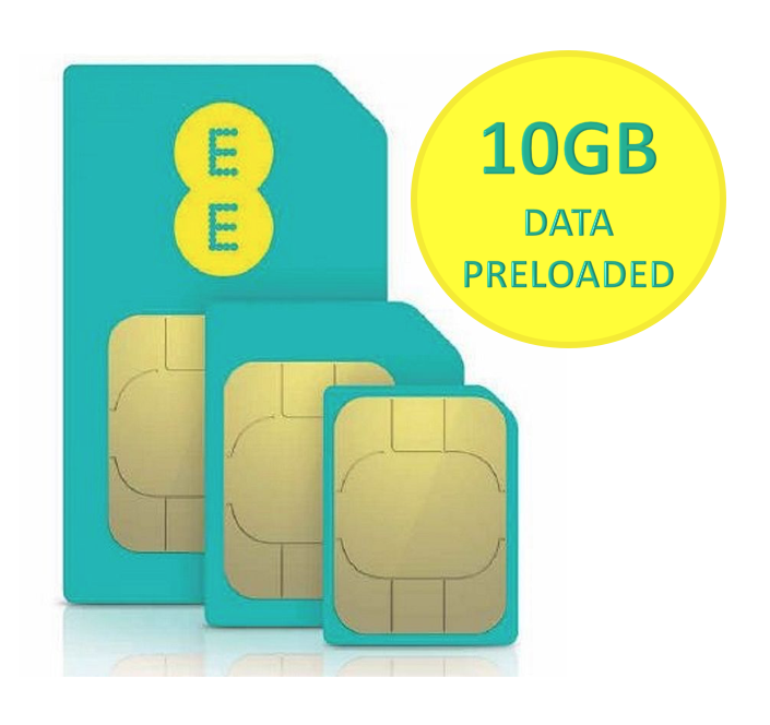 EE 4G Trio SIM Card Preloaded With £10 And 10GB Data for 30 Day+