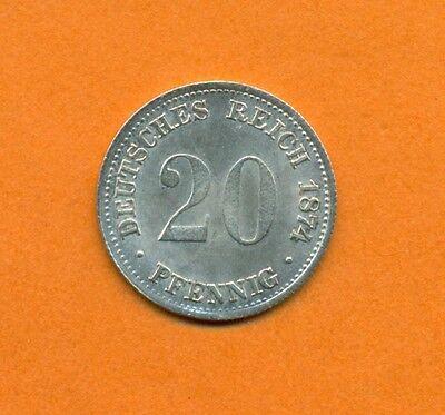 20 Pfennig Kaiserreich Jaeger 5, Silber, 1874 G, Stempelglanz