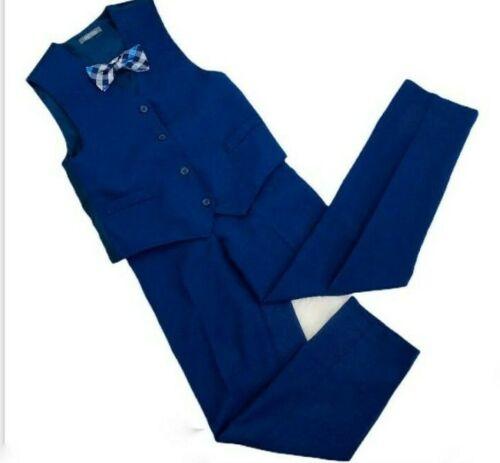Boys Van Heusen 3 Piece Vest Set Blue Pants & Vest Plaid Bow Tie Size 10