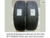 Two 205/60/16 Bridgestone Blizzak 92H tyres part worn