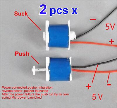 2pcs Dc 5v 6mm Stroke Push Pull Type Electromagnet Micro Suction Magnet Solenoid