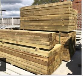 Treated wooden garden sleepers / railway sleepers
