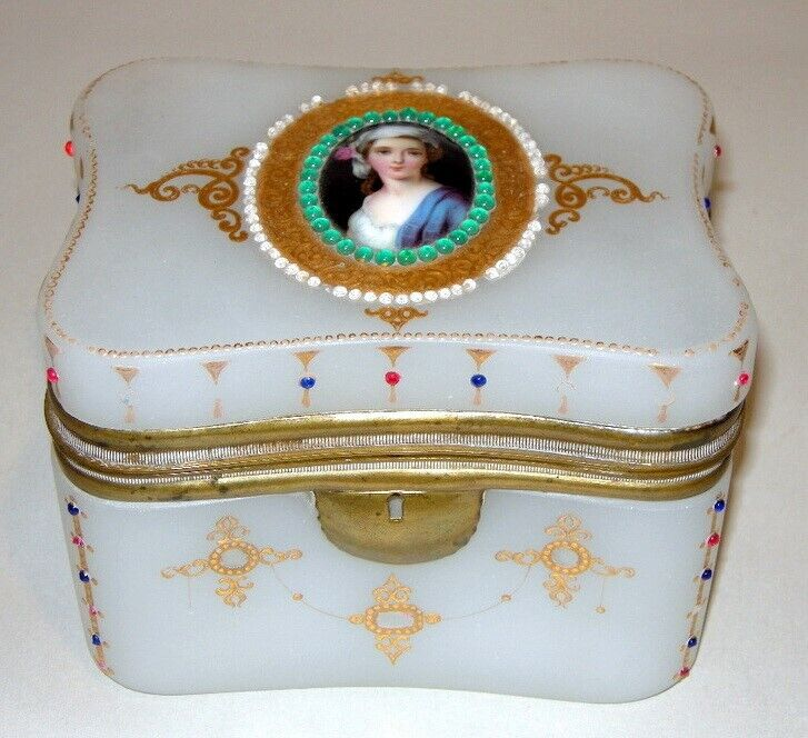 RARE Antique FRENCH Opaline Glass Trinket Jewelry BOX w Woman Portrait Jewels