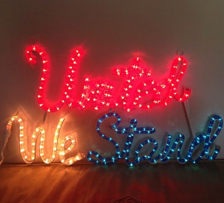 Red White Blue Patriotic America UNITED WE STAND Rope Light Sign Americana Decor