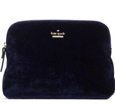 Kate Spade Watson Lane Small Briley Velvet Navy Blue Clutch Cosmetic Bag Purse