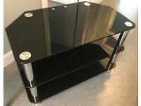 Black Three-Tier Glass TV Stand
