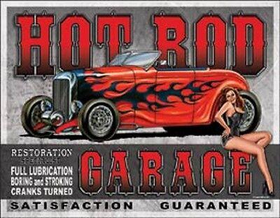 Hot Rod Garage Pin Up Girl Novelty TIN SIGN Metal Vintage Shop Wall Poster Decor