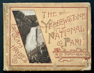 YELLOWSTONE NATIONAL PARK PHOTOGRAVURE Antique Book by HAYNES / 1887 FIRST ED.