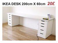 LONG WHITE IKEA DESK 200 X 60 CM