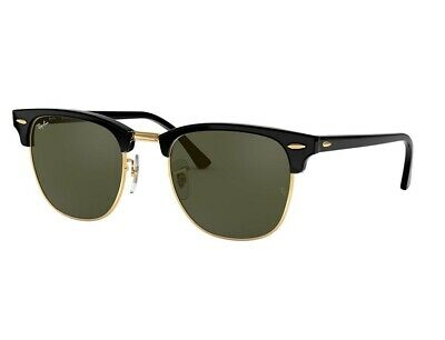 RAY BAN CLUBMASTER Green Classic G-15 Lens, Black Frame, RB3016 Sunglasses 51/21