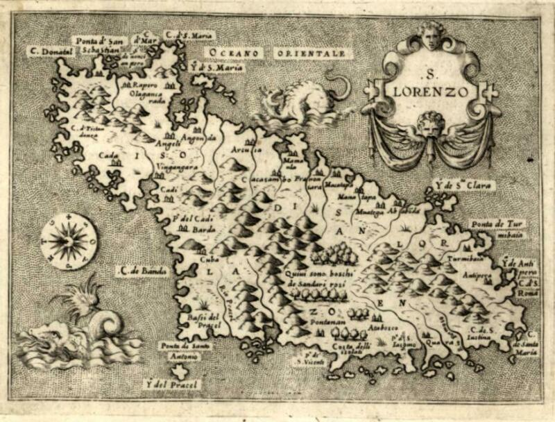 San Lorenzo Island Madagascar Africa 1576 Porcacchi map w/ sea monsters