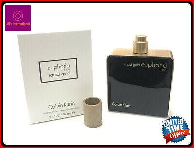 Euphoria Liquid Gold Calvin Klein Men 3.4 oz Eau De Parfum Spray White Tst Box (Liquid Gold Euphoria Men Calvin Klein For Men)