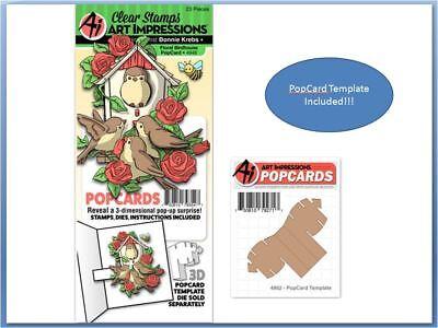Art Impressions Stamp & Die Set ~ FLORAL BIRDHOUSE POP-CARD & TEMPLATE  -4946