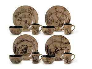 Dinnerware Dish Set 16 Piece Wildlife Nature Animal Brown Cabin Dining  Stoneware