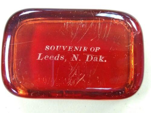 Vintage antique glass paperweight Souvenir of Leeds North Dakota