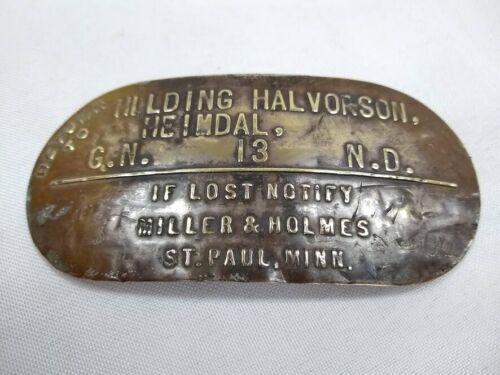 Vintage brass cream milk can tag Hilding Halvorson Heimdal North Dakota farm