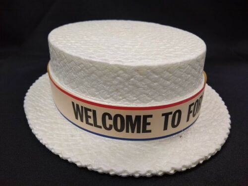 WELCOME TO FORBES ND souvenir Styrofoam boater style hat celebration jubilee