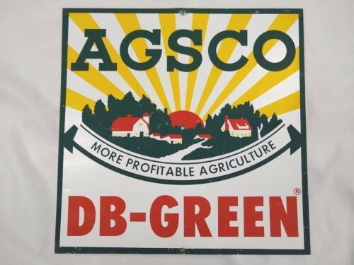 Vintage AGSCO hybrids metal farm sign DB-GREEN seed chemical