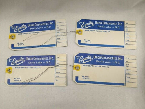 Lot of 4 cream milk can tags Equity Union Creameries Devils Lake North Dakota