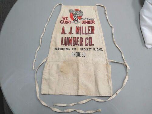 Vintage AJ Miller Lumber Company nail carpenter apron Brocket North Dakota