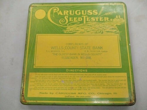 Vintage metal Caruguss Seed Tester Fessenden North Dakota advertising bank