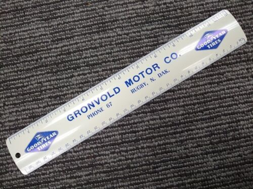Vintage Gronvold Motor Co Good Year Tires advertising metal ruler Rugby ND