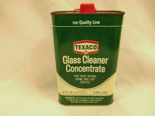 Vintage TEXACO logo glass cleaner quart metal can dealer serice station