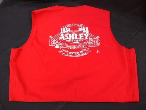 1988 Ashley North Dakota 100th centennial souvenir volunteer vest