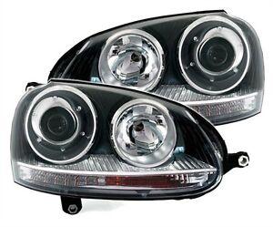 phares feux avant look gti noir vw volkswagen golf 5 2 0 tdi 2 0 tfsi gti r32 ebay. Black Bedroom Furniture Sets. Home Design Ideas