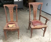 2 Vintage Antique Wood Chairs
