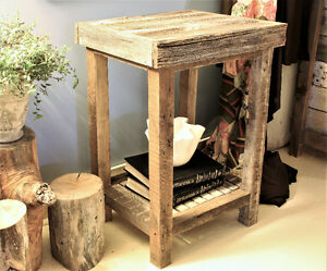 RUSTIC TALL END TABLES FROM WEATHERED WOOD, HAND CRAFTED