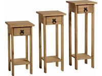 Corona Plant Stands (Set of 3) in Distressed Waxed Pine - New - £39
