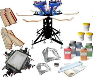 6 Color 6 Station Screen printing kit Screen Frame Stretcher & Manual Tools 006974