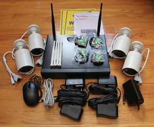 Wireless Security 4-Camera System + 1TB Video Recorder Box. NEW!