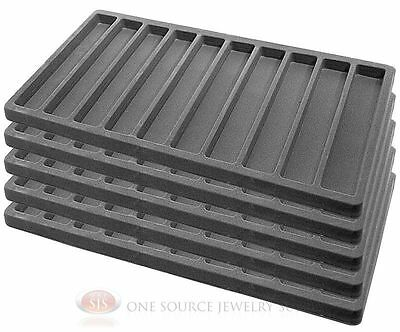 5 Gray Insert Tray Liners W 10 Slot Each Drawer Organizer Jewelry Displays