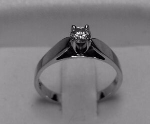 "14kt white gold .25ct ""Solitaire"" Diamond Engagement Ring-Size 6"