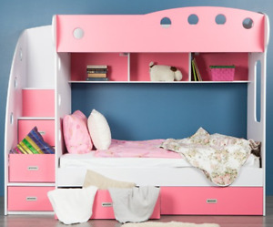 Twin VIGGO bunk bed with stairs, Pink