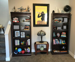 Solid wood bookshelves. Fully adjustable shelves. Good as New!
