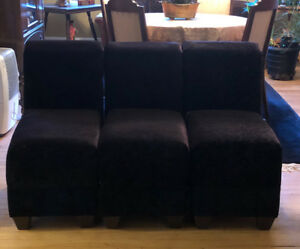 Black Plush Armless Accent Chairs