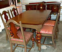 A Unique Antique Dining Set (Long Table + 6 Chairs+ Buffet)