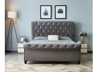 🔴🔵 SILVER CRUSHED VELVET DOUBLE AND KING SIZE FRAME ONLY, 195/220 GBP