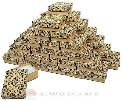 50 Damask Print Kraft 3 14 X 2 14 Cotton Filled Jewelry Gift Boxes