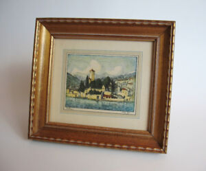 Framed Vintage Fred Pye Lithograph, Bellagio