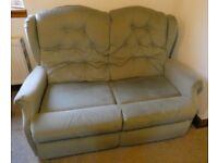 Sage Green two seater sofa, very comfy, ideal for conservatory or den. Only £10