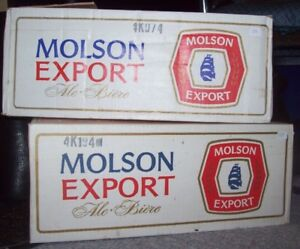 Vintage Molson Export stubby bottles and case