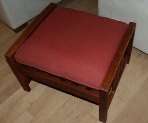Wooden ottoman with patio cushion