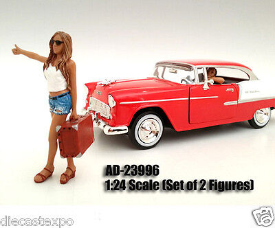 Hitchhiker 2-pc Figures Set: Girl with Driver 1:24 Scale